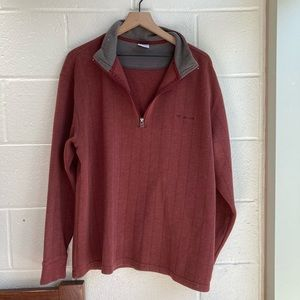 Columbia Red Ribbed Quarter Zip Pullover XXL